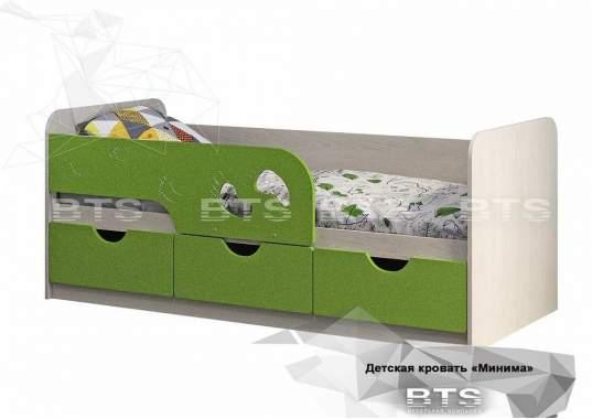 """Кровать детская """"Минима Лего"""" 1632х770х850 дуб атланта/лайм глянец"""