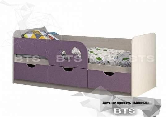 """Кровать детская """"Минима Лего"""" 1892х770х850 дуб атланта/лиловый сад"""