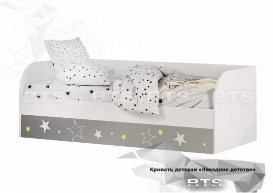 """Кровать детская """"Трио"""" КРП-01 1892х640х833 белый/звездное детство с подъёмным механизмом"""