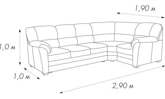 Угловой диван Веста 2 2.9 м