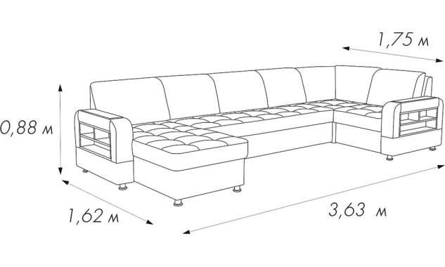 Угловой диван Камила 7 с оттоманкой