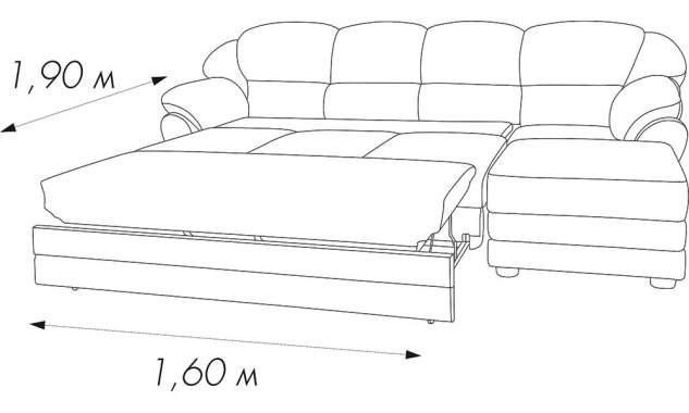 Угловой диван Веста с оттоманкой