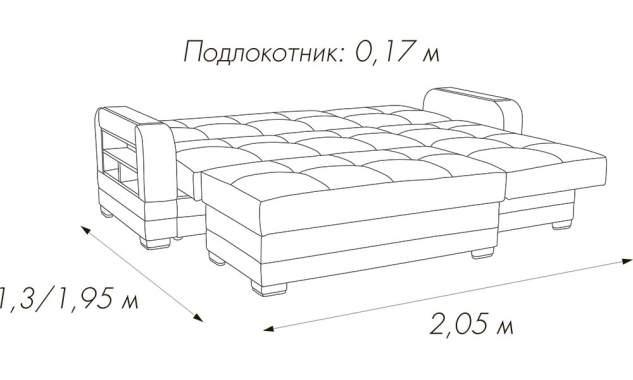 Угловой диван Люкс 2 + пуф