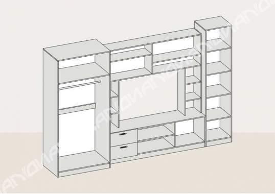 Стенка Аллегро вариант - 6 (2,7м) Дуб Белфорт/Венге Linum
