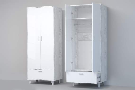 Шкаф ШК-1 (ноги) ЭГО Белый Глянец