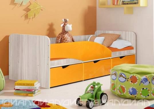 Бриз «МДФ» Кровать - 3 Волна Оранжевый/Ясень светлый