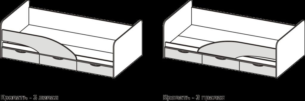 Бриз «МДФ» Кровать - 3 Волна Шоколад/Ясень светлый